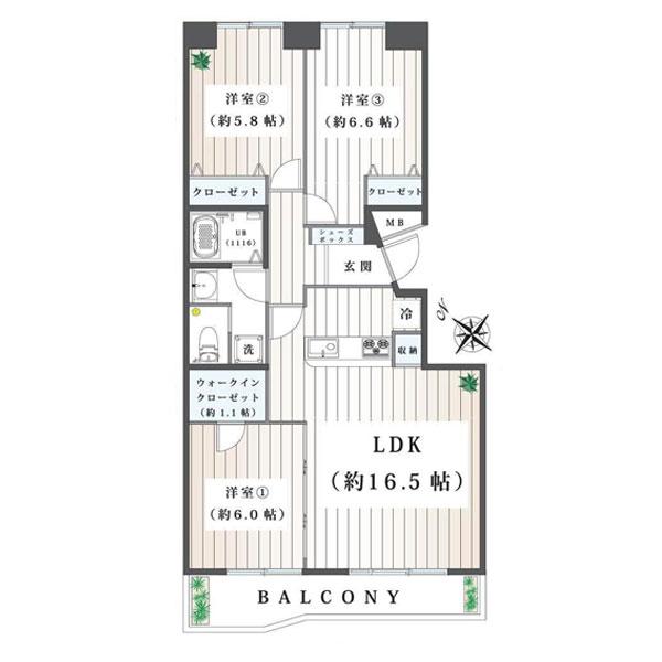 金沢シーサイドタウン並木2丁目第1住宅2-14号棟の間取り図